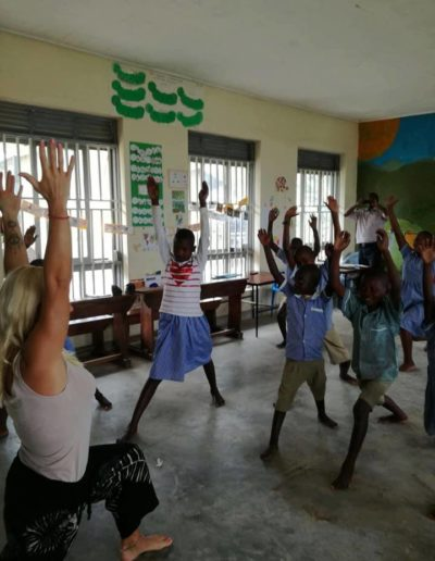 Yoga class in school in uganda