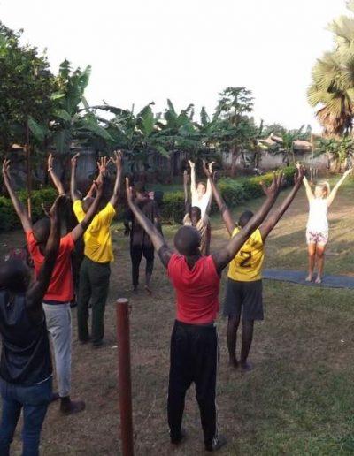 Yoga class with school in Uganda